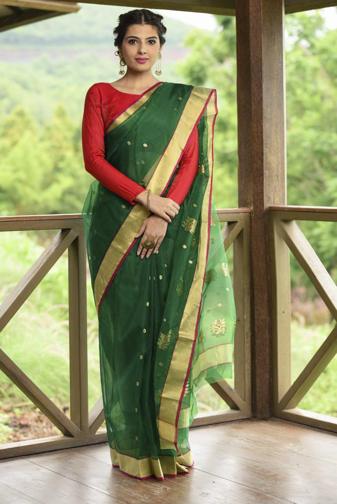 Green Chanderi Katan Silk Saree