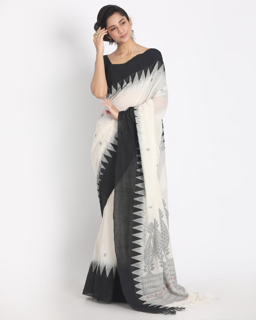 White And Black Handwoven Cotton Jamdani Saree