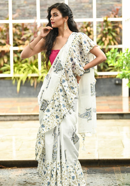 Multicolor Handwoven Cotton Ruffle Saree