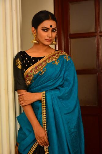 Blue and Green Shaded Pure Silk with Embroidered Turquoise Silk Saree-Festival Collection-Chandri