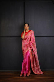 Pink and Gold Handwoven Baluchari Silk Saree with Hand Embroidered Borders