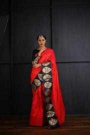 Red Raw Silk Saree with Broad Black Brocade Borders