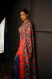 Multi Coloured Chanderi and Blue Pure Silk Half and Half Saree
