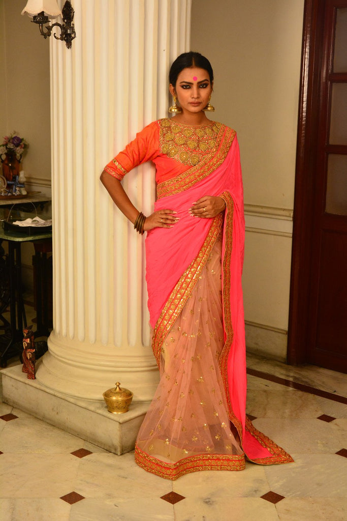 Peach Crepe Net Saree with Embroidery Borders