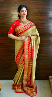 Beige & gold & Red Katan silk saree with hand embroidery work on borders