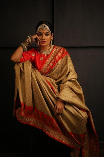 Beige and Gold Red Katan Silk Saree with Hand Embroidery Work on Borders-Festival Collection-Chandri