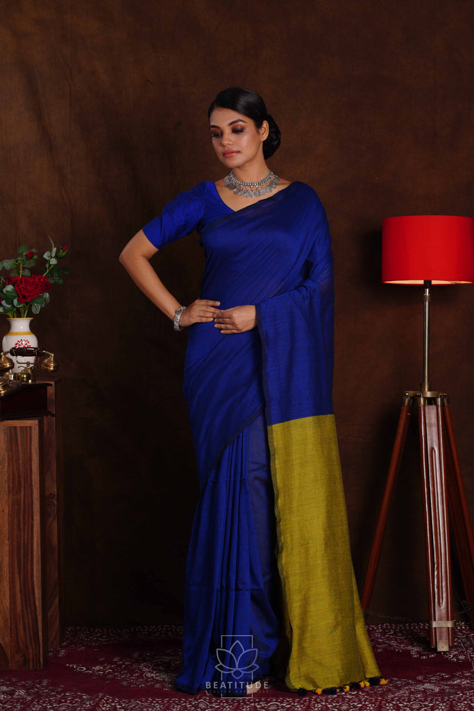 Blue Handwoven Khadi Cotton Silk Saree