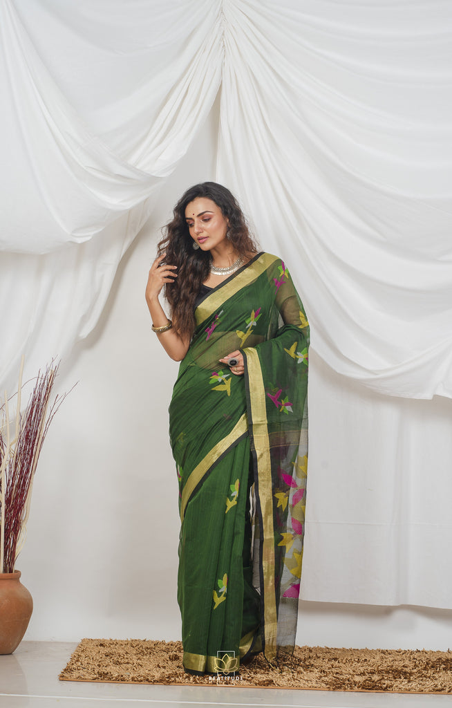 Green Handwoven Cotton Silk Muslin Jamdani Saree