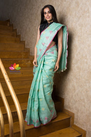 Handwoven Linen Saree-Signature Collection-Beatitude Label