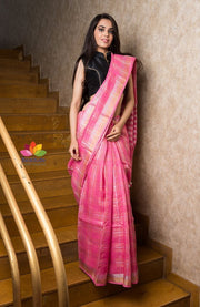 Pink Checks  Handwoven Linen Saree