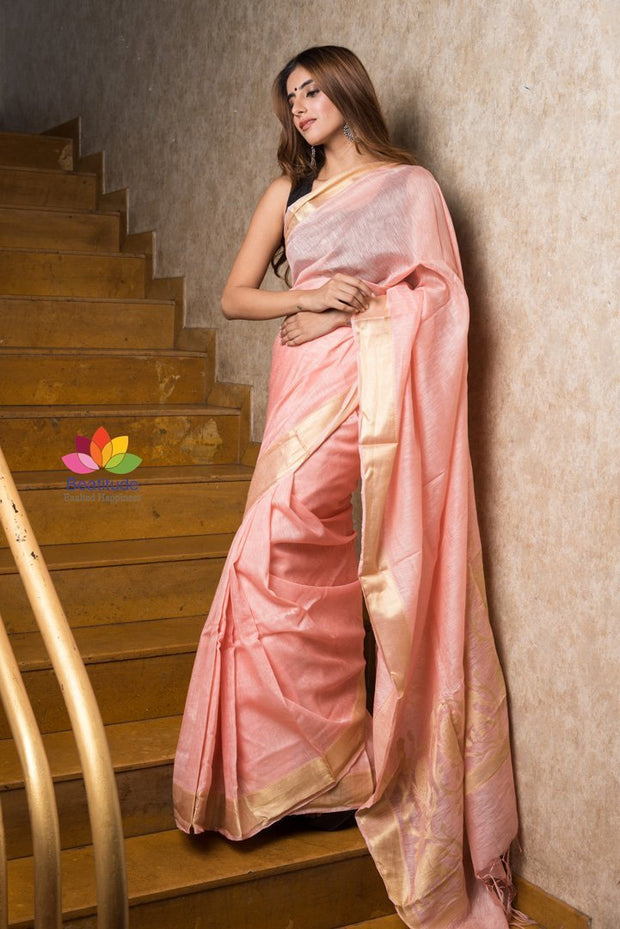 Light Peach Silk Linen Saree