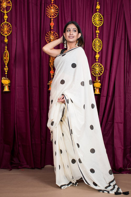 White Hand Block Print Cotton Mulmul Saree