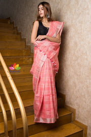 Light Peach Handwoven Linen Saree-Signature Collection-Beatitude Label