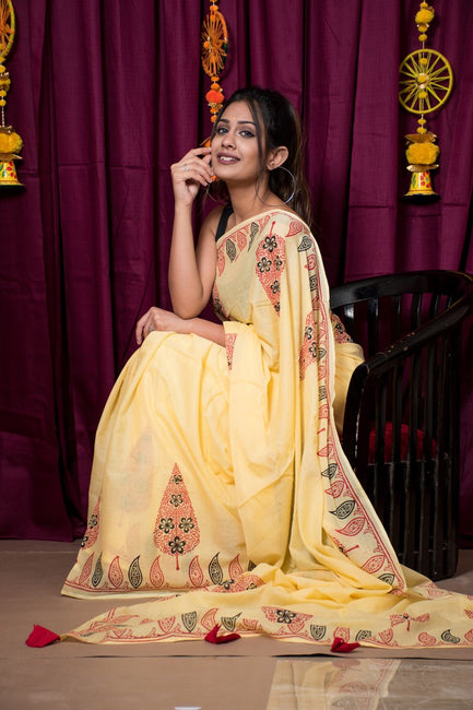 Yellow Hand Block Print Cotton Mulmul Saree