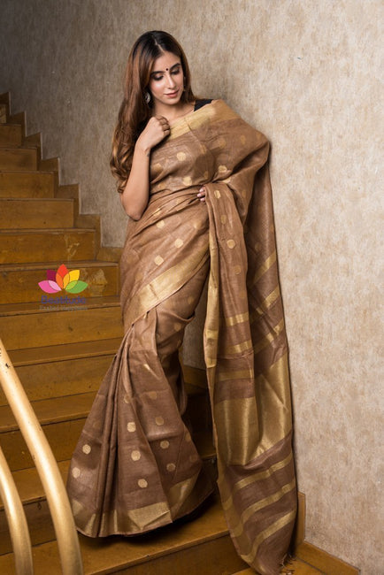 Light Brown Handwoven Linen Saree with Gold Tone Design