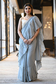 Polar Blue Handwoven Cotton Mulmul Ruffle Saree