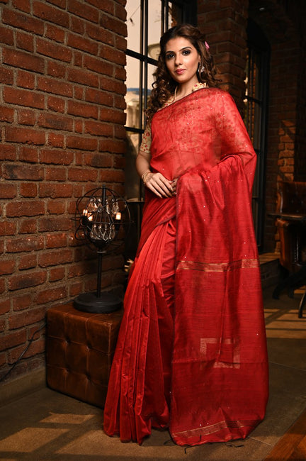 Red Shade Handwoven Blended Cotton Saree