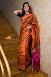 Orange Handwoven Dupion Raw Silk Saree