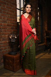 Green Shade Handwoven Linen Saree