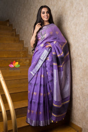 Orchid Color Handwoven Linen Saree