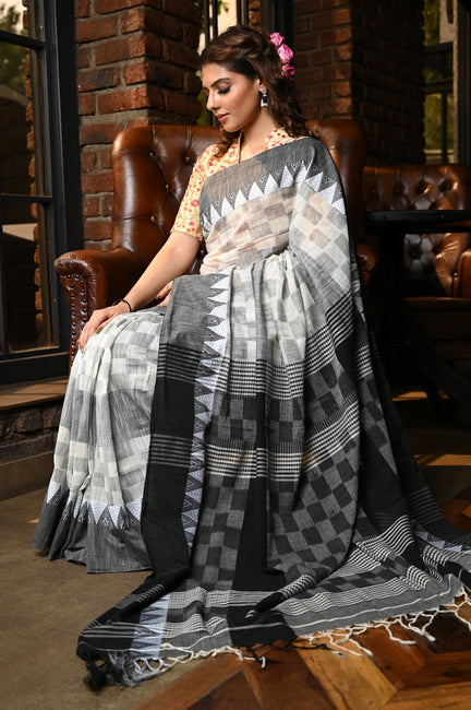 White and Black Shade Handwoven Cotton Saree