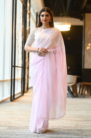 Pink Shade Handwoven Cotton Mulmul Saree with Mukaish Work