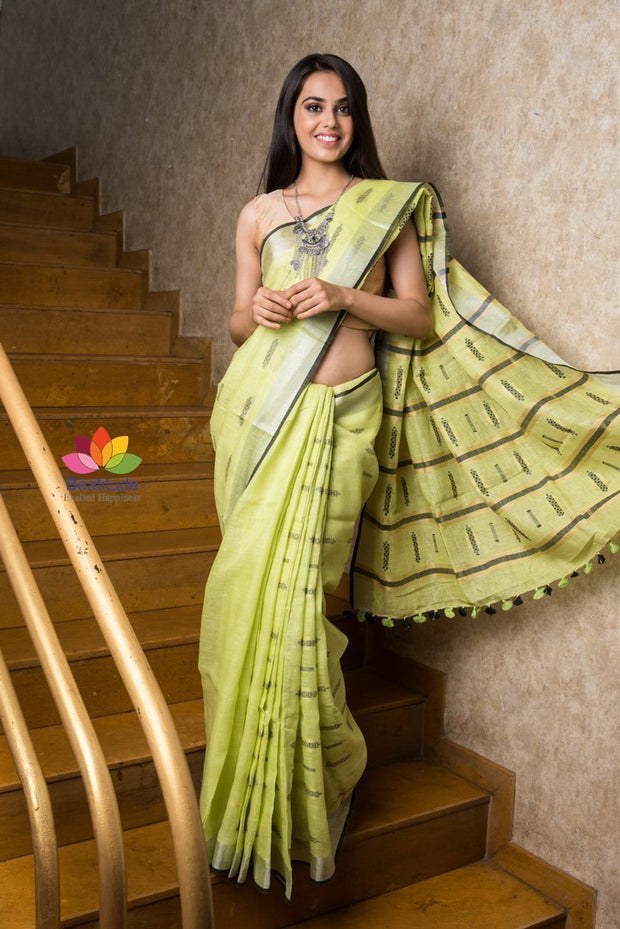 Light Lime Color Handwoven Linen Saree
