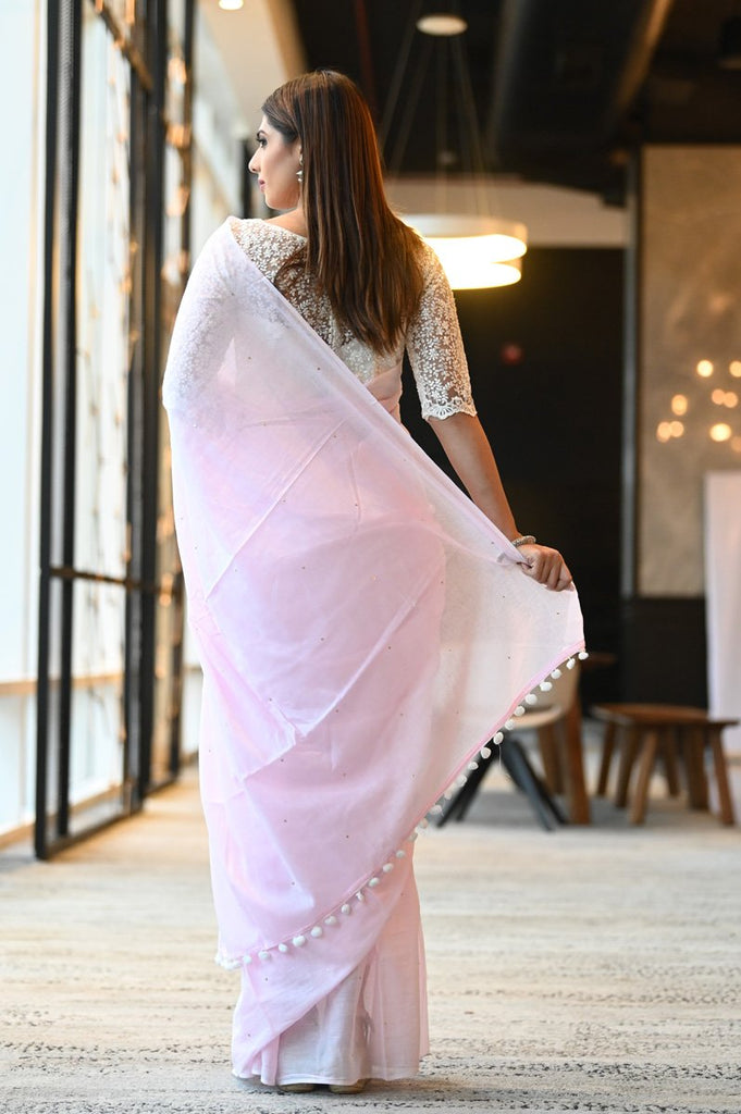 Pink Shade Cotton Mulmul Handwoven Saree
