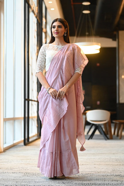 Pink Handwoven Cotton Mulmul Ruffle Saree