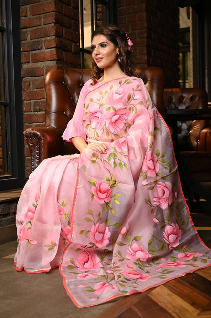 Pink Shade Handpainted Organza Silk Saree