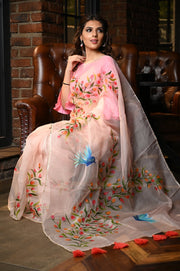Peach Shade Handpainted Organza Silk Saree
