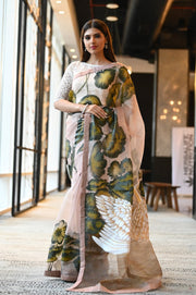 Multicolor Handpainted Organza Silk Saree