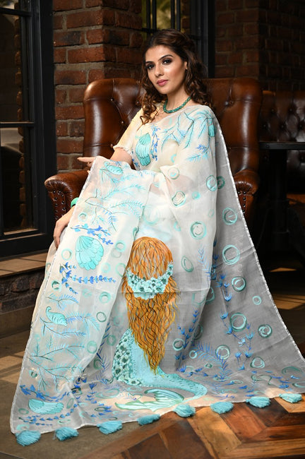 White Shade Handpainted Organza Silk Mermaid Exclusive Beatitude Saree