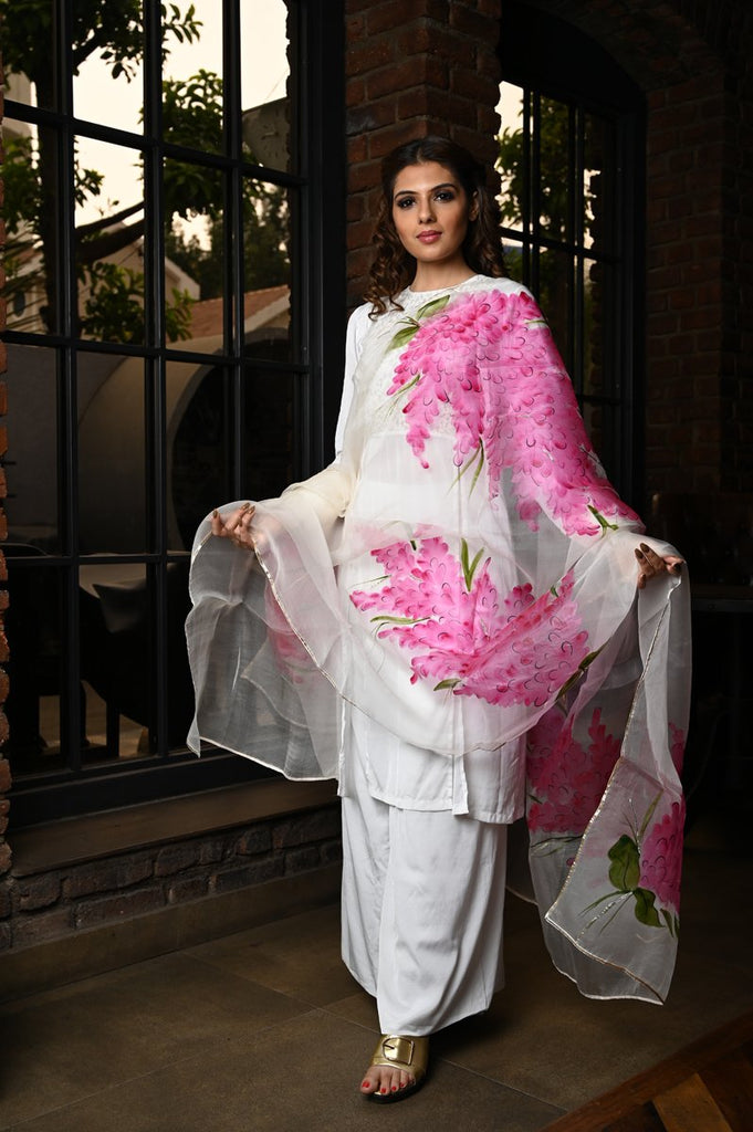 Off White Shade Handpainted Organza Silk Dupatta