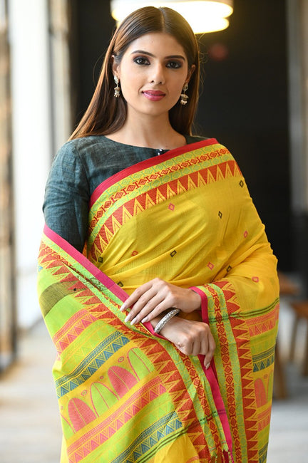 Yellow Handwoven Khadi Cotton Saree