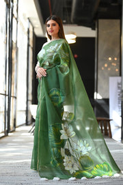 Green Shade Handpainted Organza Silk Saree