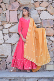 Carrot Pink Handcrafted Dress with Dupatta