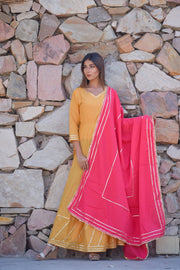 Mustard Handcrafted Gota Dress with Dupatta