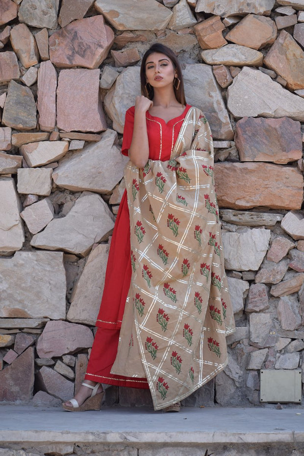 Red Handcrafted Gota Palazzo Set with Dupatta