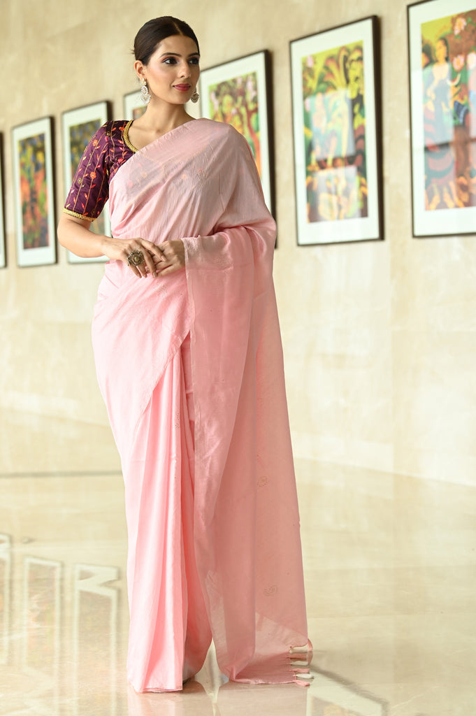 Pink Shade Handwoven Chanderi Cotton Saree