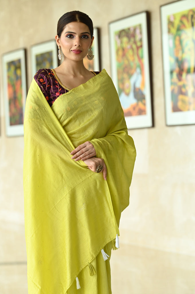 Yellow Shade Handwoven Chanderi Cotton Saree