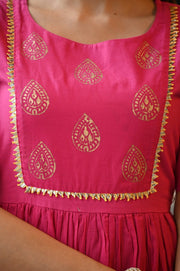 Pink Shade Cotton Hand Block Printed Kurta Set with Gota Work