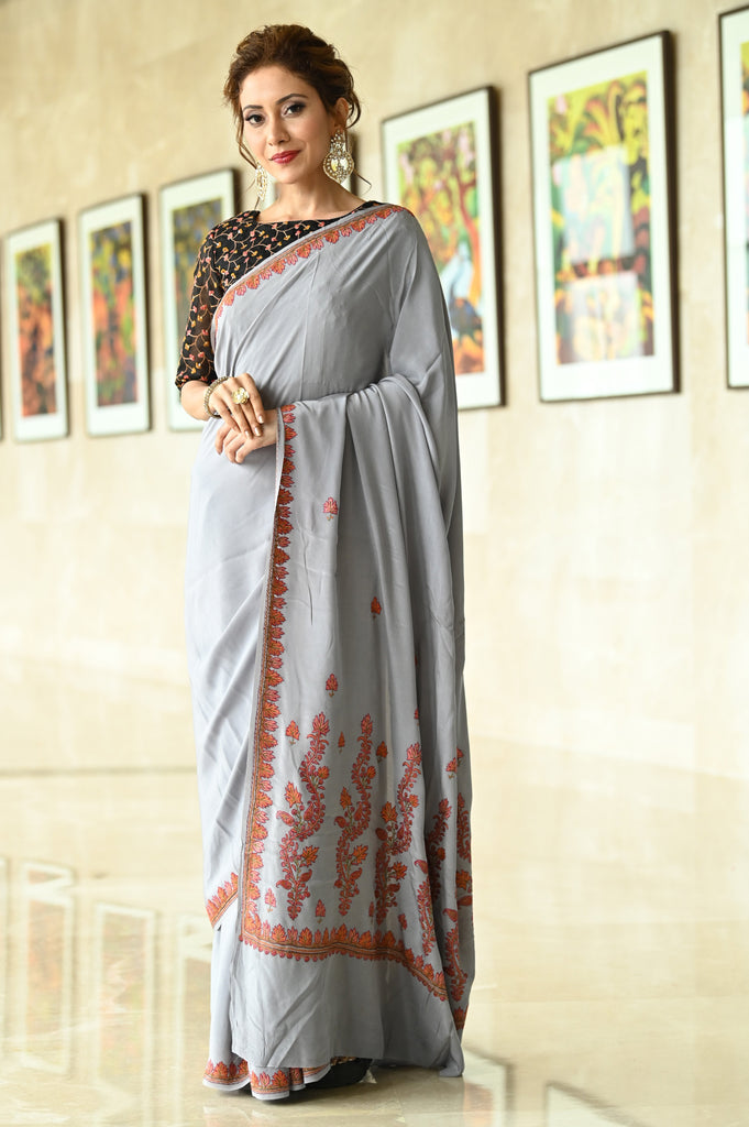Grey Shade Pure Crepe Hand Embroidered Kashmiri Saree