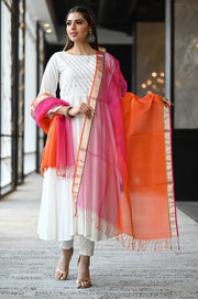 Pink and Orange Handwoven Silk Maheshwari Dupatta with Golden Zari Border