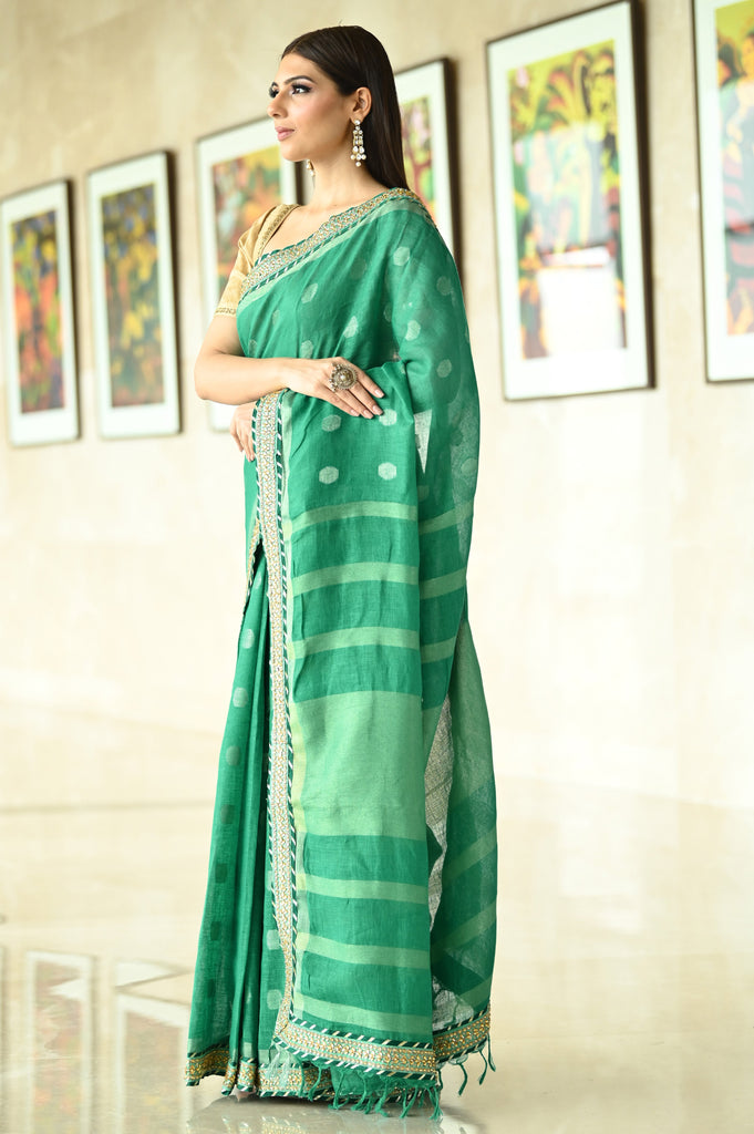 Dark Green Handwoven Linen Saree with Embroidered Border