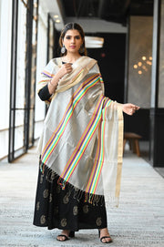 Multicolour Handwoven Cotton Silk Maheshwari Dupatta