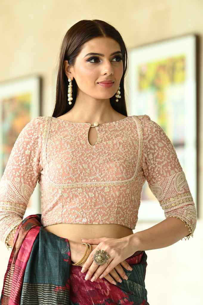 Pink Shade Chikankari Georgette Three Fourth Sleeve Blouse