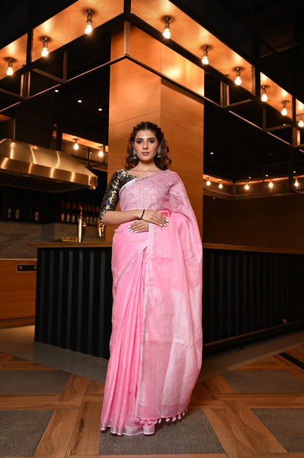Baby Pink Handwoven Linen Saree with Zari Border