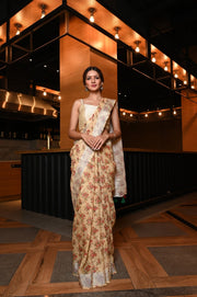 Floral Handwoven Printed Linen Saree