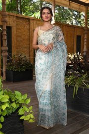 White Hand Block Print Organza Silk Saree